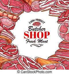 Vector sketch meat sausages butcher products icons - Butcher...