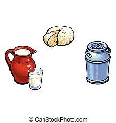 vector sketch milk-can milk pitcher glass, cheese