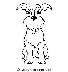 Vector sketch Miniature Schnauzer dog sitting