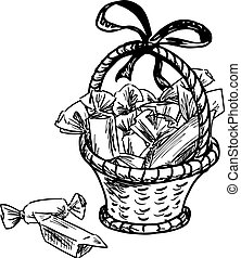Vector sketch of a basket with candies
