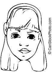 vector sketch of a beautiful blonde teen girl
