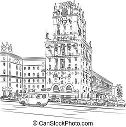 Vector sketch of a city-center, Station Square, Minsk, Belarus
