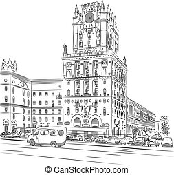 Vector sketch of a city-center, Station Square, Minsk, ...