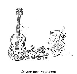 Vector sketch of a guitar, treble clef, thistle and musical notation
