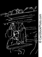 vector sketch of a guy sitting in a railway carriage near the window