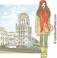 Vector sketch of a stylish girl in the city-center