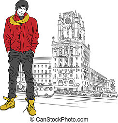 Vector sketch of a stylish guy in the city-center