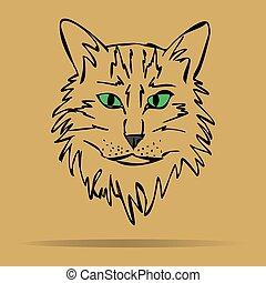 Vector sketch of a stylized kitten'