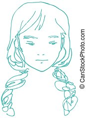 sketch of a young beautiful girl with two pigtails