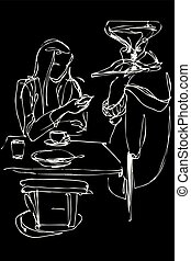sketch of a young girl at a table in a cafe with a phone
