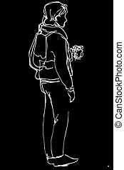 sketch of a young man standing and drinking coffee