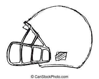 Vector sketch of american football helmet