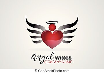 Vector sketch of angel wings and heart icon logo
