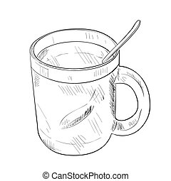 Vector sketch of cup with spoon