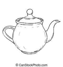 Vector sketch of doodle kettle