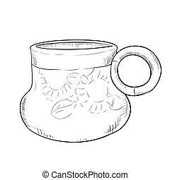Vector sketch of doodle pot
