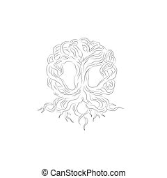 Vector sketch of freehand tree of life neon art design Isolated on white background