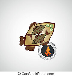 Vector sketch of fried fish on a plate