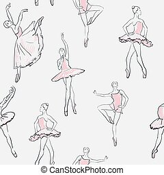vector sketch of girls ballerina seamless pattern - vector...