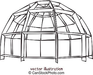 Sketch of individual spherical domed house. Vector isolated illustration for design on white background