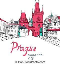 Vector sketch of landscape with Charles Bridge in Prague