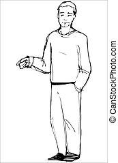 sketch of man points his index finger - vector sketch of man...