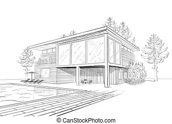 Vector sketch of modern house - Vector black and white...