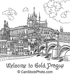 Prague Castle and Charles Bridge - Vector sketch of Prague...