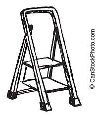 Vector sketch of step ladder