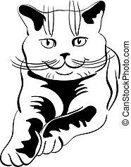 vector sketch of the british cat