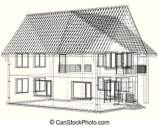 Vector sketch of the cottage with a roof. Illustration created of 3d.