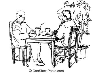 the two guys at the table drinking a cocktail