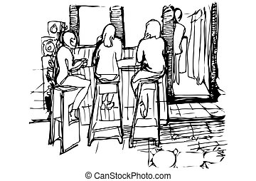 vector sketch of three women on the high stools drinking coffee