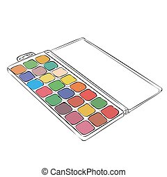 Vector sketch of watercolor paints in a box