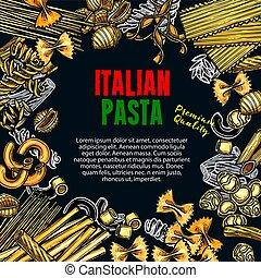 Vector sketch poster of Italian premium pasta - Italian...