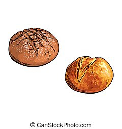 vector sketch round dark brown, white bread set