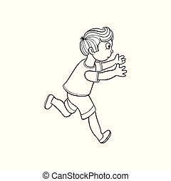 Vector sketch running boy, ranaway kid