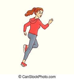 Vector sketch running man, ranaway character