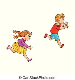 Vector sketch running ranaway kids set