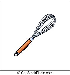 vector sketch stainless egg wire whisk isolated