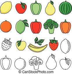 vector sketch style fresh fruits, vegetables set