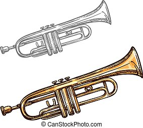 Vector sketch trumpet musical instrument