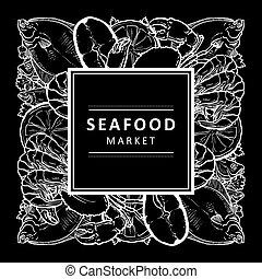 vector sketch underwater animal sea food pattern