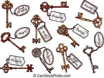 Vector sketch vintage keys with keychain tags - Vintage keys...