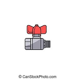 vector sketch water valve with fitting - vector sketch style...