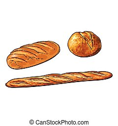vector sketch white loaf bread french baguette set