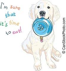 vector sketch whte puppy dog breed Labrador Retriever ...
