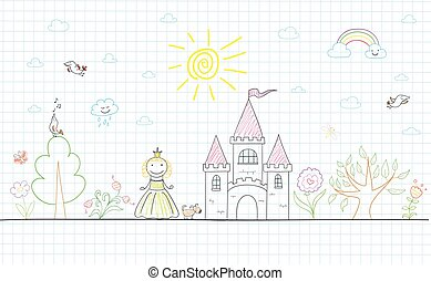 Vector sketch with happy little princess
