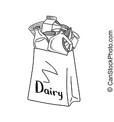 Vector sketched dairy products gathered in paper bag