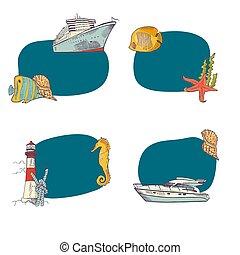 Vector sketched sea stickers set
